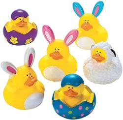 USA Fun Express Easter Rubber Ducky Party Favors - 12 Pieces