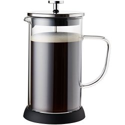 French Press Coffee Maker - Double Glass Design Holds Heat Dual Filters Provide A Smooth Brew - Includes 2 Additional Mesh Filters