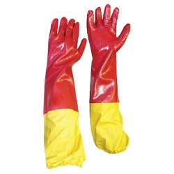 PVC Red Smooth Shoulder Glove With Yellow Elastic