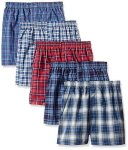 Fruit Of The Loom Boys' Woven Boxer Exposed And Covered Waistband Pack Of 5 Assorted SMALL 6-8