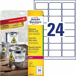 Avery Zweckform L47738OUTDOOR Film Labels 8SHEETS 192LABELS Weatherproof 63.5X 33.9MM White