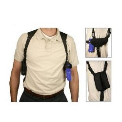 VISM By Ncstar Ambidextrous Horizontal Shoulder Holster With Double Magazine Holder Black Cv2909