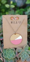 Mila Pink Wooden Circle Necklace & Earrings - Nationwide Shipping Included