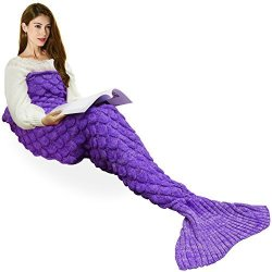 IBABY888 Handmade Knitted Mermaid Tail Blanket T-tviva All Seasons Warm Bed Blanket Sofa Quilt Living Room Sleeping Bag For Kids