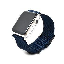 Nato Skull 38MM Apple Watch Band Navy Blue Ballistic Nylon Band Strap With Pvd Metal Clasp For All 38MM Apple Watch Models Connector Sold Separately