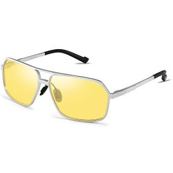 4643d5acf2 HD Vision Night Driving Glasses For Men Women Anti-glare Safety Metal Frame  Glasses SILVER-1