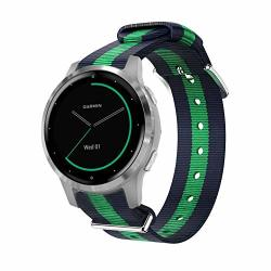 For Garmin Vivoactive 4S Bands Lamshaw Ballistic Nylon Straps V Voactive 4S 40MM Smartwatch Blue+green+blue