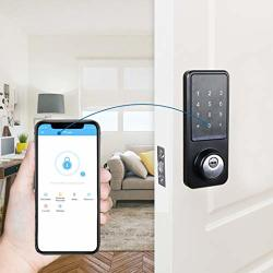 Kingneed Smart Lock Electronic Front Door Deadbolt Smart Phone App Unlock Bluetooth Code And Fob Entry Keyless Access Easy To Install For Airbnb & Vacation Rentals