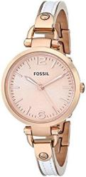 Fossil Women's ES3261 Georgia White rose Stainless Steel leather Watc