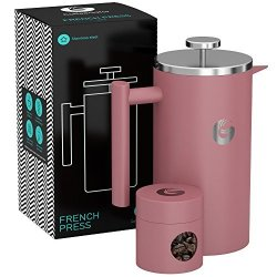 Coffee Gator Large French Press Coffee Maker - Triple Filter Vacuum Insulated Stainless Steel - With MINI Canister And Ebook - By - 34FLOZ
