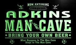 ADV PRO QD1394-G Adkins Man Cave Soccer Football Bar Neon Beer Sign
