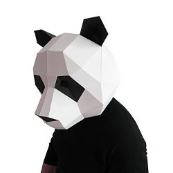 Geek-House Modern Aesthetics Low-poly Mask Diy Paper Art Animal Series Headgear For Party Photography Decoration Panda Black+white For Child