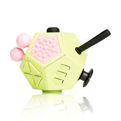 EDC Fidgeter Green Fidget Cube Prime Quality Anti Stress Fidget Cube. Anti Anxiety Kids Fidget Spinner Cube. 12 Sided Fidget Cubes.