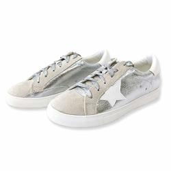 Women Classic Two Tone Star Lace Up Fashion Sneakers 9 Silver
