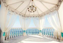 Leyiyi 10X6.5FT Seaside Wedding Ceremony Backdrop Romantic Marriage Arch Door Background Honeymoon European Travel Hotel Balcony