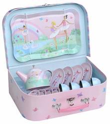 Jewelkeeper 15 Piece Girls Pretend Toy Tin Tea Set & Carrying Case - Ballerina Design