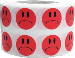 InStockLabels.com Frowny Face Stickers Red Sad Labels For Teachers 1 2 Inch 1 000 Adhesive Labels