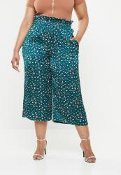 Missguided Satin Animal Print Paperbag Waist Trouser - Green