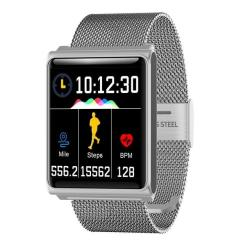 N98 Smart Watch IP67 Waterproof Support Blood Pressure Heart Rate Monitor Fitness Tracker Clock Smartwatch For Ios Android Silver Metal