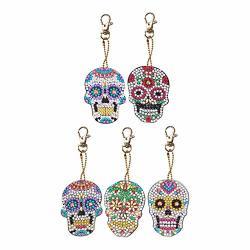 Diy Diamond Painting Keychains Special-shaped Skull Diamond Painting Ornaments Pendants Key Rings Small Diamond Art For Kids And Adult Beginners 5PCS SET
