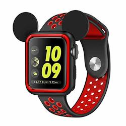 Apple Watch Case 42MM Series 3 SERIES 2 SERIES 1 Sport edition nike Soft Silicone Protective Cover With Band For Iwatch Case Cartoon Mickey Ears Black red 42 Mm
