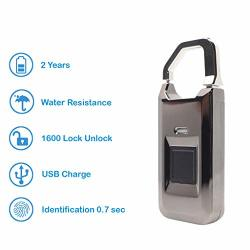 Xlock Fingerprint Padlock Biometric Lock Unlock 1500 1600 Response Time 1 Sec Security I-key Store Up To 30 Sets Fingerprint Water Resistant Black