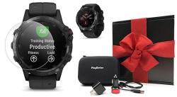 Fenix Garmin 5 Plus+ Sapphire Black With Black Band Gps Watch Gift Box Bundle +screen Protectors Playbetter USB Chargers & Protective Case |