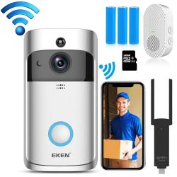 Eken V5 720P Wireless Wifi Smart Video Doorbell Support Motion Detection & Infrared Night Vision & Two-way Voice Package 3: Doorbell + Chime +