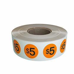 Royal Green $5 Price Sticker Labels 19MM 1.9CM 3 4 Inch Diameter In Neon Orange - Preprinted Price Stickers In A Roll $5.00 Pack Of By - 1040 Pack