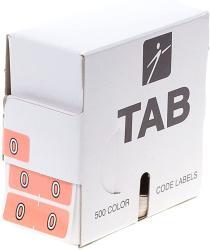 USA Tab Datafile Numeric Folder Label Half-size 0 Salmon 500 Labels roll