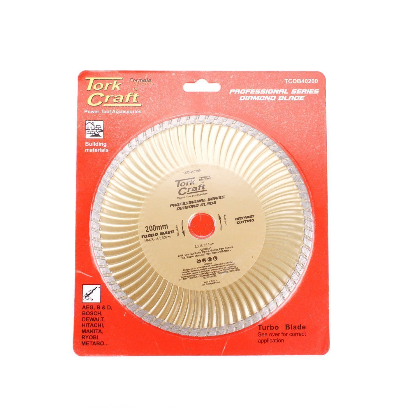 Tork Craft Diamond Blade 200x25.4mm Turbo