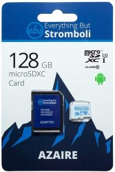 Everything But Stromboli 128GB Azaire Microsd Memory Card For Samsung Galaxy Phone Works With S20 S20+ Plus S20 Ultra 5G S10 Lite Speed Class