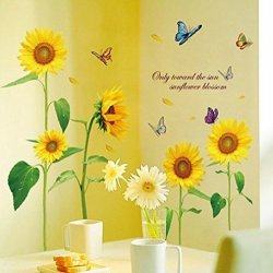 May Flower Mf@sunshine Bellasam Blossom Sunflower Dancing Butterfly In Summer Beautiful Removable Wall Stickers Diy Kid's Child Room Decor Decal SUNFLOWER-1PCS