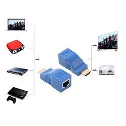 1080P HDMI Extender To RJ45 Over Cat 5E 6 Network Lan Ethernet Adapter 2PCS Blue 2PCS