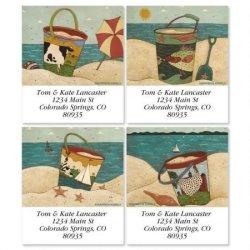 "Warren Kimble's Sand Pails Square Return Address Labels 4 Designs - Set Of 144 1-1 8"" X 2-1 4"" Self-adhesive Flat-sheet Label"