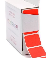 "Chromalabel.com 1"" X 3 4"" Fluorescent Red Orange Square Color-code Stickers Permanent Adhesive Writable Surface 500 Labels Per Dispenser Box"