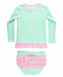 b9a0c75ba7 RuffleButts Baby toddler Girls Mint Seersucker Long Sleeve Rash Guard Bikini  - 18-24M