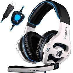 Sades 7.1 Surround Sound Pro Usb Pc Stereo Noise-canceling Gaming Headset With High Sensitivity Mic Volume-control Blue Led Ligh
