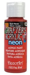 DecoArt Crafter's Acrylic Neon Paint 2-OUNCE Red Neon