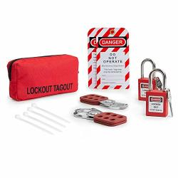 Tradesafe Lockout Tagout Kit W 2 Hasps 2 Lockout Tags 2 Red Lockout Safety Padlocks And Carrying Case Osha Compliance For Elect