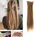 DSoar Synthetic 20 Inch 12 Strands Handmade Dreadlocks Extensions Twist Braiding Hair Crochet Braids Light Brown Color