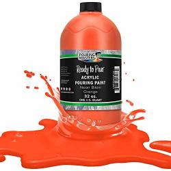 Pouring Masters Neon Bikini Orange Acrylic Ready To Pour Pouring Paint - Premium 32-OUNCE Pre-mixed Water-based - For Canvas Wood Paper Crafts Tile Rocks
