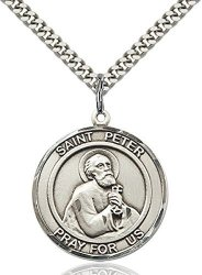 Bliss Manufacturing Co Sterling Silver Round Catholic Saint Peter The Apostle Medal Pendant 1 Inch