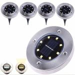 Mexidi 2018 Upgraded Outdoor Solar Lights 4 Pack 8-LED Waterproof Landscape Disk Lighting LED Walkway Lamp Dusk To Dawn Auto On