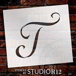 "Graceful Monogram Stencil - T - 10"" - STCL1920_4 - By STUDIOR12"