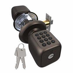 Turbolock TL-111 Digital Door Lock With Keypad Door Knob-style For Keyless Entry Digital Security W passcode Disguise Backup Keys & Emergency Power Port Bronze