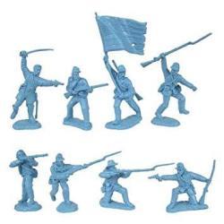 TSSD Civil War 1863 Union Infantry Charging Plastic Army Men: 16 Light Blue 54MM Figures - 1:32 Scale