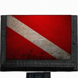 Scuba Diving Flag Black Trifold Nylon Wallet Great Gift Idea