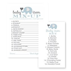 Elephant Blue Baby Shower Game Word Scramble 25 Pack