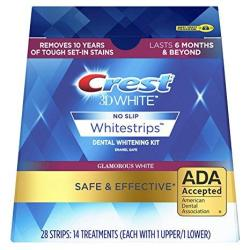 Crest 3D White Glamorous White Whitestrips Dental Teeth Whitening Strips Kit 14 Treatments - Lasts 6 Months & Beyond